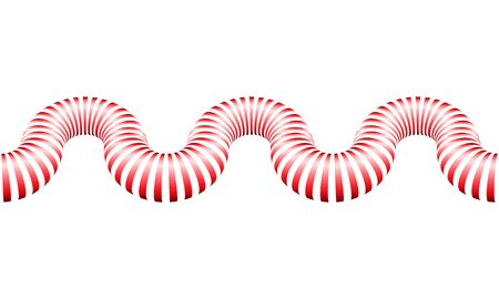 Seamless 3D Striped Pipe Pattern with Wave effect. Red Striped Endless Snake Pattern as a Divider for Website Design 向量圖像
