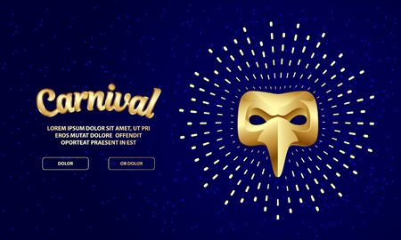 Carnival golden mask banner with lettering. 3D vector gold plague doctor mask with splash halo.