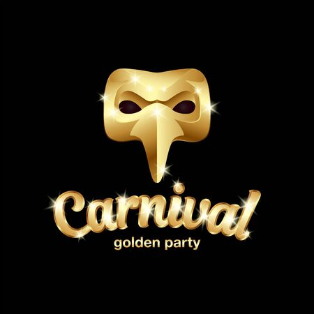 Carnival golden mask  with lettering. 3D vector gold plague doctor mask on a black background.