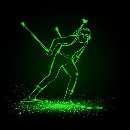 Biathlon winter sport. Biathlon man linear silhouette skiing. Side view vector green neon biathlon competitor illustration. 向量圖像