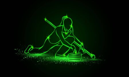 Curling winter sport. Girl holds curling stone. Side view vector green neon Curler athlete illustration. Иллюстрация