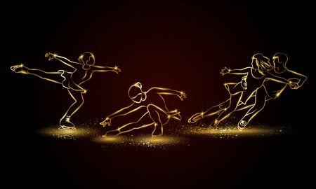 Figure skating set. Golden linear single and pair Figure skating illustration for sport banner, background and flyer.