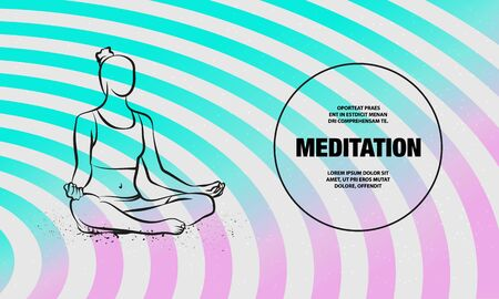 Girl sitting pose of meditation and relaxation. Vector outline of woman practices yoga illustration.