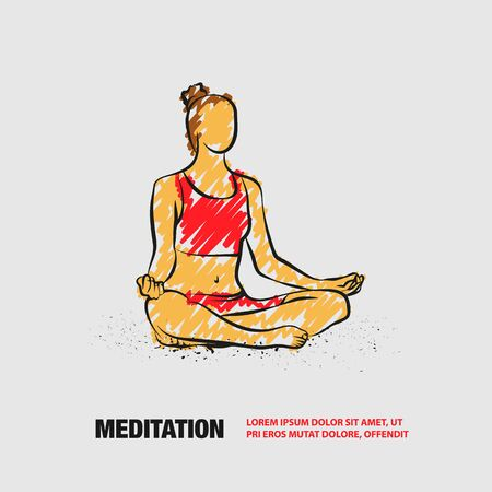 Girl sitting pose of meditation and relaxation. Vector outline of woman practices yoga with scribble doodles style.