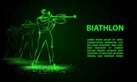 Biathlon winter sport banner. Biathlon girl and other athlete behind shooting in the stand position.
