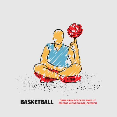 Basketball player spins the ball on finger. Vector outline of sitting basketball player with scribble doodles style.