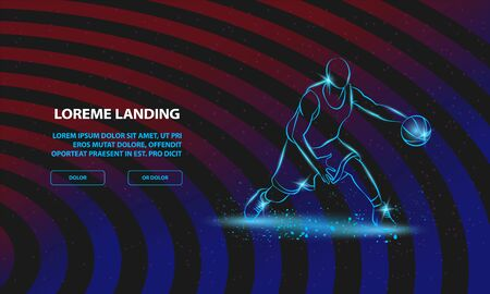 Basketball player with ball. Vector Basketball Sport Background for Landing Page Template. Иллюстрация