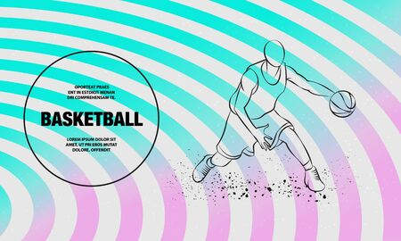 Basketball player with ball. Vector outline of Basketball player sport illustration.