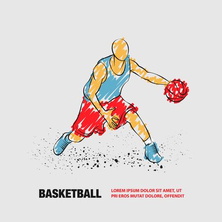 Basketball player with ball. Vector outline of Basketball player with scribble doodles style. Иллюстрация