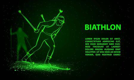 Biathlon winter sport banner. Biathlon man and other athlete behind skiing. Side view vector green neon biathlon racing illustration.