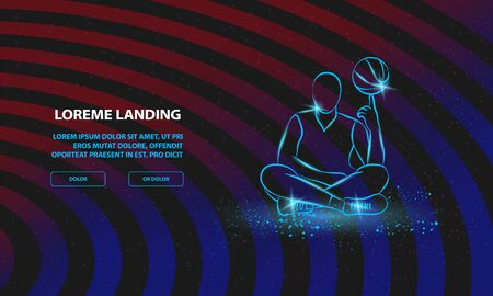 Basketball player spins the ball on finger. Vector Basketball Sport Background for Landing Page Template.