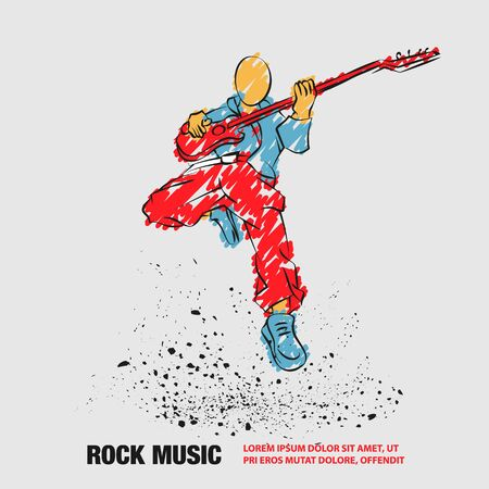 Rock Guitar Player Jumping with guitar. Vector outline of Rock Music Festival banner with scribble doodles style.