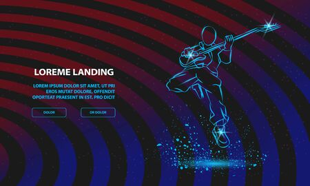 Rock Guitar Player Jumping with guitar. Vector Rock Music Festival Background for Landing Page Template.