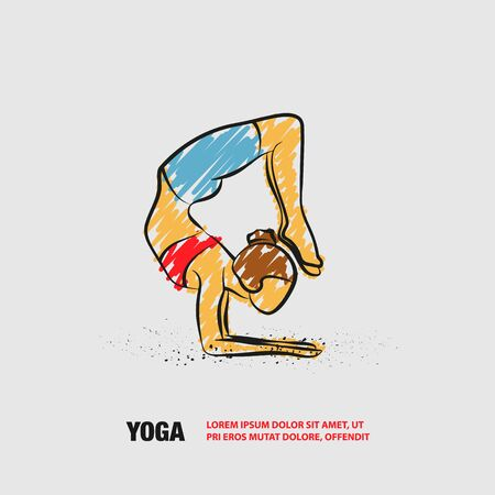 Scorpion yoga pose. Vector outline of woman practices yoga with scribble doodles style.