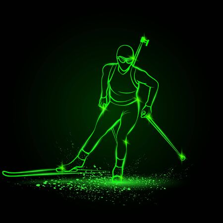 Biathlon winter sport. Biathlon girl linear silhouette skiing. Front view vector green neon biathlon ski illustration.