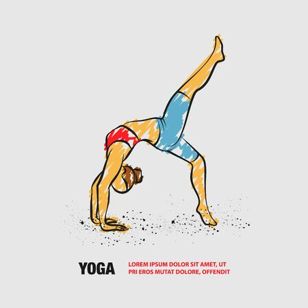 One leg bridge yoga pose. Vector outline of woman practices yoga with scribble doodles style.