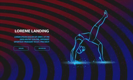 One leg bridge yoga pose. Vector woman practices yoga Background for Landing Page Template.