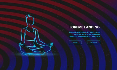 Girl sitting pose of meditation and relaxation. Vector woman practices yoga Background for Landing Page Template.