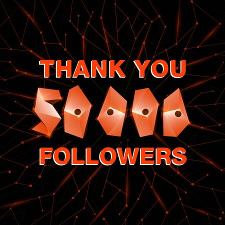 Thank you 50000 followers, thanks banner. Follower congratulation card with polygonal numbers and neural network background for Social Networks. Blogger celebrate new number of subscribers Иллюстрация