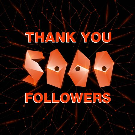 Thank you 10000 followers, thanks banner. Follower congratulation card with polygonal numbers and neural network background for Social Networks. Blogger celebrate new number of subscribers