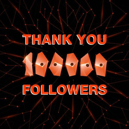 Thank you 100000 followers, thanks banner. Follower congratulation card with polygonal numbers and neural network background for Social Networks. Blogger celebrate new number of subscribers