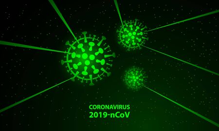 Green neon virus cells and glowing laser beams banner. Vector glowing neon coronavirus cell symbol for  dark banner template of epidemic identification. Иллюстрация