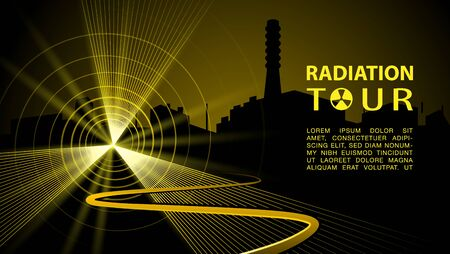 Yellow radiation rays as a symbol of radioactive danger with road to the Nuclear Power Plant. Vector radiation tour banner with Chernobyl Nuclear Power Plant silhouette.