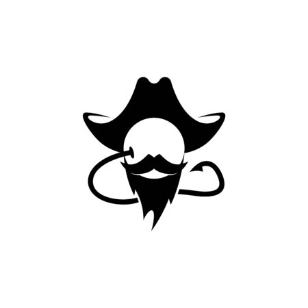 Carp fishing hook and bait icon. Fishing boyle icon looks like a pirate head with a mustache and beard