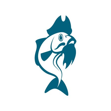 Vector blue carp with beard and pirate hat. Pirate fish template for fishing business card, branding and corporate identity. Иллюстрация