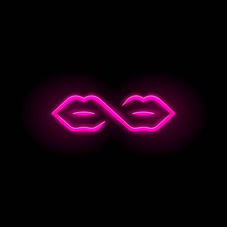 Neon sign of infinity symbol and lips. Two mouths connection with one line contour.