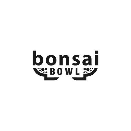 Bonsai Pot Lettering Logo Concept. Bonsai tree bowl text design template.