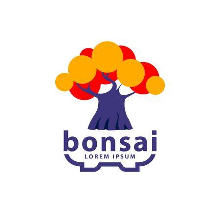 Bonsai tree and bonsai pot logo concept. Abstract autumn tree icon for Hokidachi Bonsai style illustration. Stock Illustratie