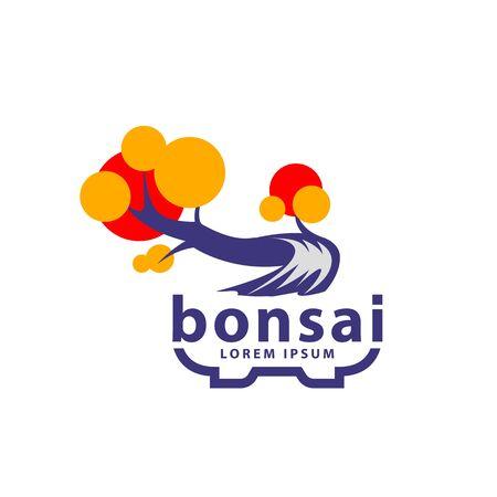 Bonsai tree and bonsai pot logo concept. Abstract autumn tree icon for Sharimiki Bonsai style illustration.