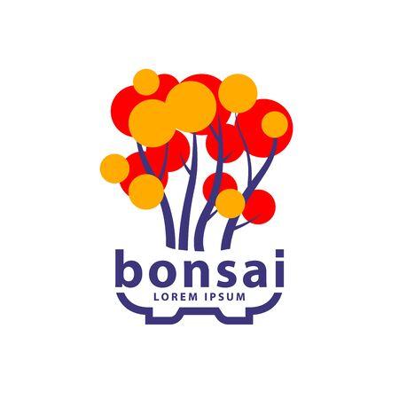 Bonsai tree and bonsai pot logo concept. Abstract autumn tree icon for Yose-ue Bonsai style illustration. Stock Illustratie