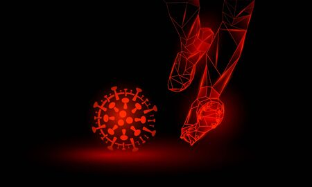 Soccer against coronavirus. Polygonal Football Kickoff illustration. Legs and virus cell. Çizim