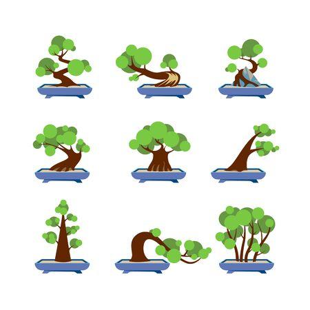 Vector Flat Bonsai Styles Set. Green bonsai trees icons on white background.