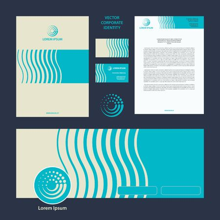 Abstract vector corporate style and template for social networks. Blue abstract wave pattern for travel corporate identity Иллюстрация