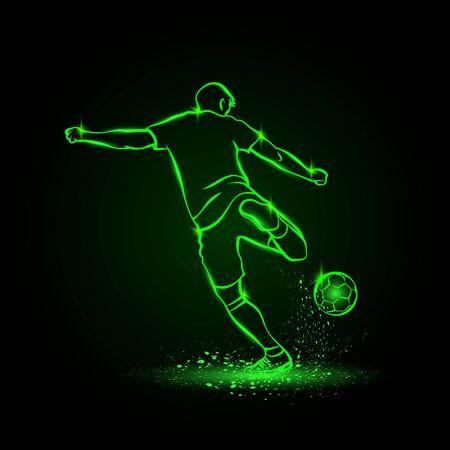 Soccer striker, back view. Football player hits the ball in the dark. Vector Soccer sport green neon illustration.