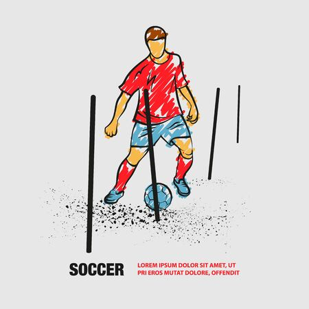 Soccer player training with ball between the sticks. Vector outline of soccer player with scribble doodles style. Иллюстрация