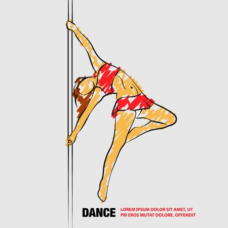 Girl on the pole. Vector outline of Pole dance with scribble doodles style.