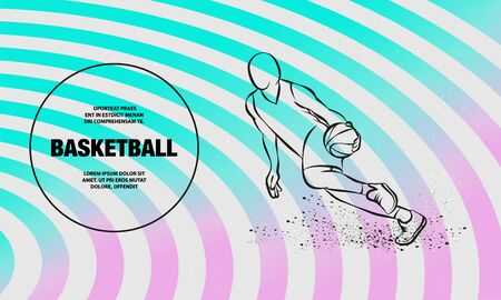 Basketball player dribbling with a ball. Vector outline of Basketball player sport illustration.