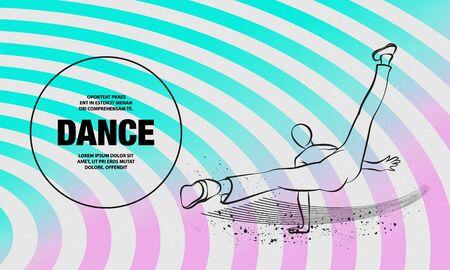 Cool street dancer. Vector outline of Break dance sport illustration.