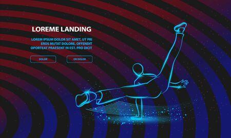 Cool street dancer. Vector Break dance Background for Landing Page Template. Иллюстрация