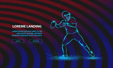 American football quarterback throws the ball. Vector Sport Background for Landing Page Template. Illustration