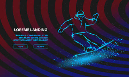 Neon Snowboarder fast riding and snow flash effect under his board. Vector Snowboarding Background for Landing Page Template.