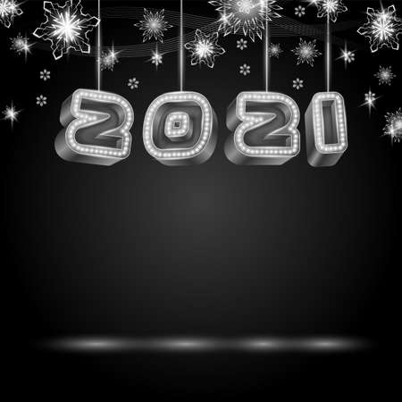 2021 text design with neon retro light bulbs. Happy New Year 3D text and snowflakes. Neon style vector illustration. Ilustração