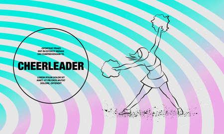 Cheerleader dances with pom poms. Vector outline of sport dance illustration.