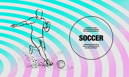 Soccer striker. Football player hits the ball. Vector outline of Soccer player sport illustration.