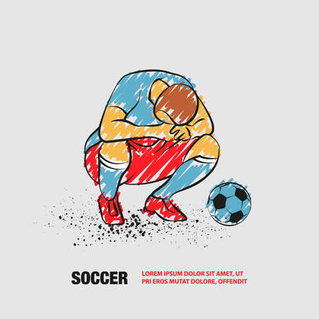 Loser soccer player squatted on his haunches and lowered his head. Vector outline of soccer player with scribble doodles style drawing.