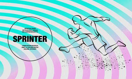 Linear silhouette of strong runner. Vector outline of running athlete illustration.